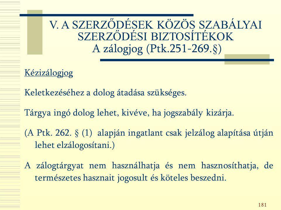 181 Kézizálogjog Keletkezéséhez a dolog átadása szükséges. Tárgya ingó dolog lehet, kivéve, ha jogszabály kizárja. (A Ptk. 262. § (1) alapján ingatlan