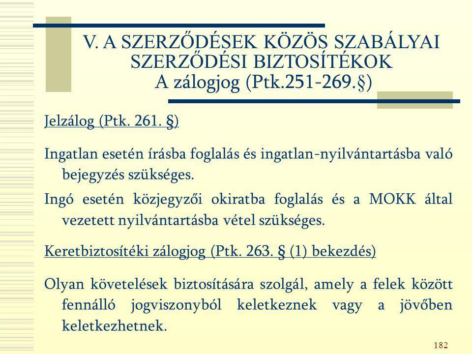 182 Jelzálog (Ptk. 261. §) Ingatlan esetén írásba foglalás és ingatlan-nyilvántartásba való bejegyzés szükséges. Ingó esetén közjegyzői okiratba fogla