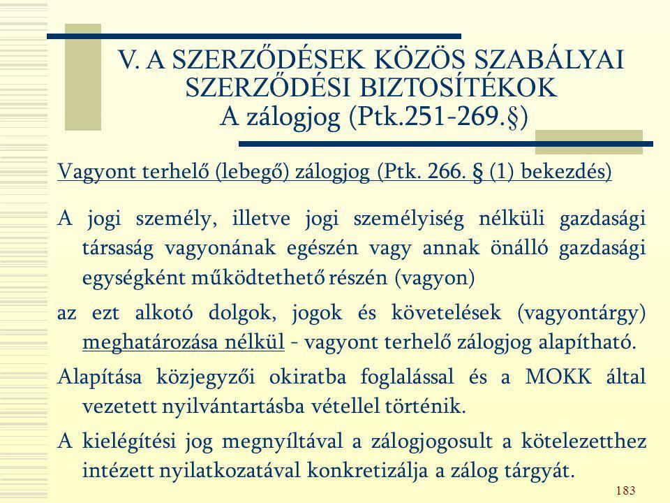 183 Vagyont terhelő (lebegő) zálogjog (Ptk. 266. § (1) bekezdés) A jogi személy, illetve jogi személyiség nélküli gazdasági társaság vagyonának egészé