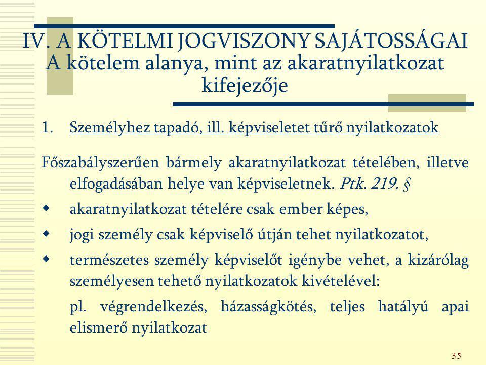 35 IV. A KÖTELMI JOGVISZONY SAJÁTOSSÁGAI A kötelem alanya, mint az akaratnyilatkozat kifejezője 1.Személyhez tapadó, ill. képviseletet tűrő nyilatkoza