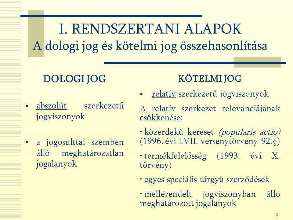 4 I. RENDSZERTANI ALAPOK A dologi jog és kötelmi jog összehasonlítása DOLOGI JOG  abszolút szerkezetű jogviszonyok  a jogosulttal szemben álló megha