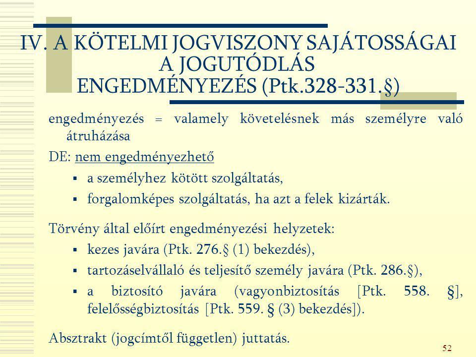 52 IV. A KÖTELMI JOGVISZONY SAJÁTOSSÁGAI A JOGUTÓDLÁS ENGEDMÉNYEZÉS (Ptk.328-331.§) engedményezés = valamely követelésnek más személyre való átruházás