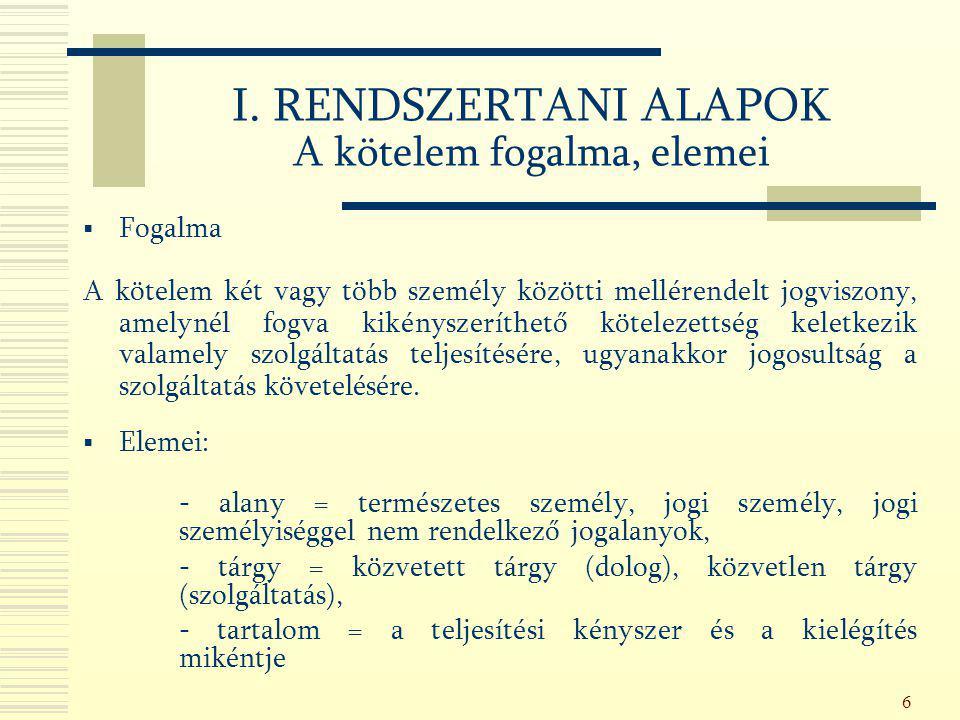 177 V.A SZERZŐDÉSEK KÖZÖS SZABÁLYAI SZERZŐDÉSI BIZTOSÍTÉKOK A jogvesztés kikötése (Ptk.