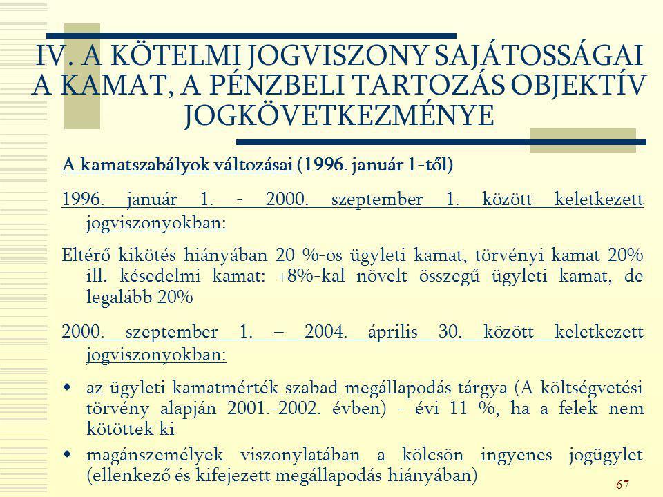 67 A kamatszabályok változásai (1996. január 1-től) 1996. január 1. - 2000. szeptember 1. között keletkezett jogviszonyokban: Eltérő kikötés hiányában