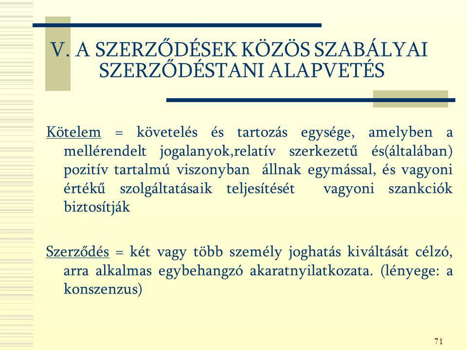 71 V. A SZERZŐDÉSEK KÖZÖS SZABÁLYAI SZERZŐDÉSTANI ALAPVETÉS Kötelem = követelés és tartozás egysége, amelyben a mellérendelt jogalanyok,relatív szerke