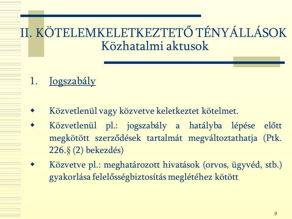 130 A)Jogszabályon alapuló egyes szerződésszüntető tények pl.: - Megbízási szerződésnél a megbízó cselekvőképtelenné vagy korlátozottan cselekvőképessé válása (Ptk.