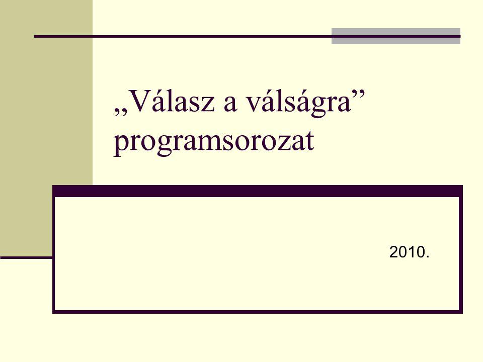 """""""Válasz a válságra"""" programsorozat 2010."""