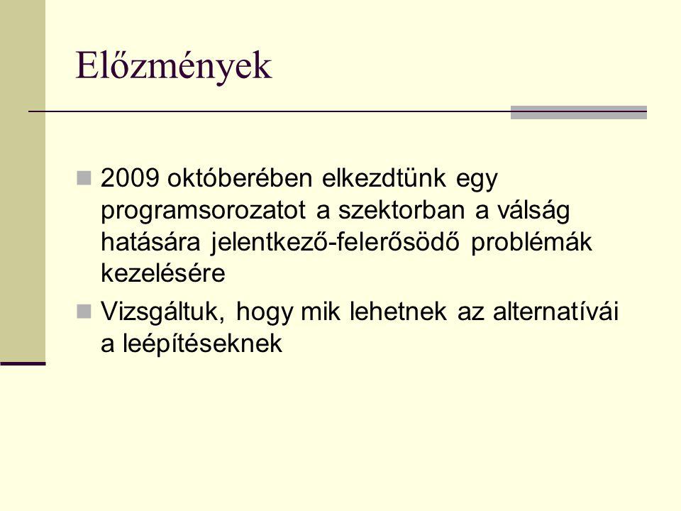 Előzmények 2009 októberében elkezdtünk egy programsorozatot a szektorban a válság hatására jelentkező-felerősödő problémák kezelésére Vizsgáltuk, hogy mik lehetnek az alternatívái a leépítéseknek