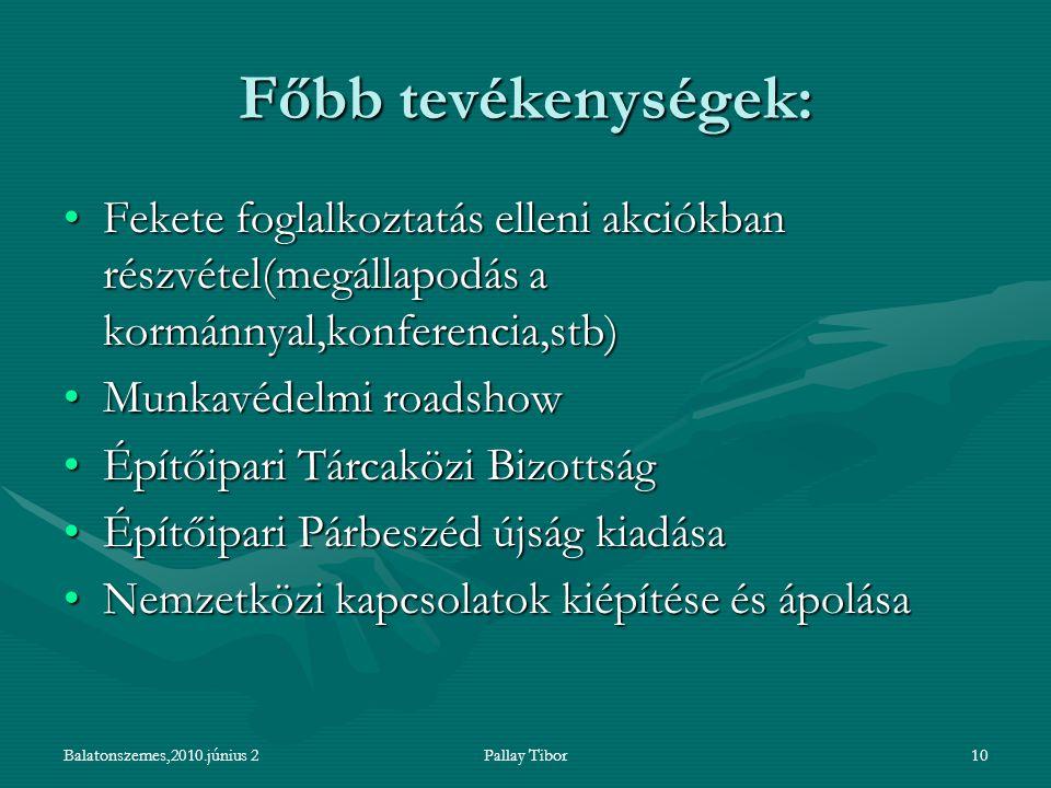 Balatonszemes,2010.június 2Pallay Tibor10 Főbb tevékenységek: Fekete foglalkoztatás elleni akciókban részvétel(megállapodás a kormánnyal,konferencia,s