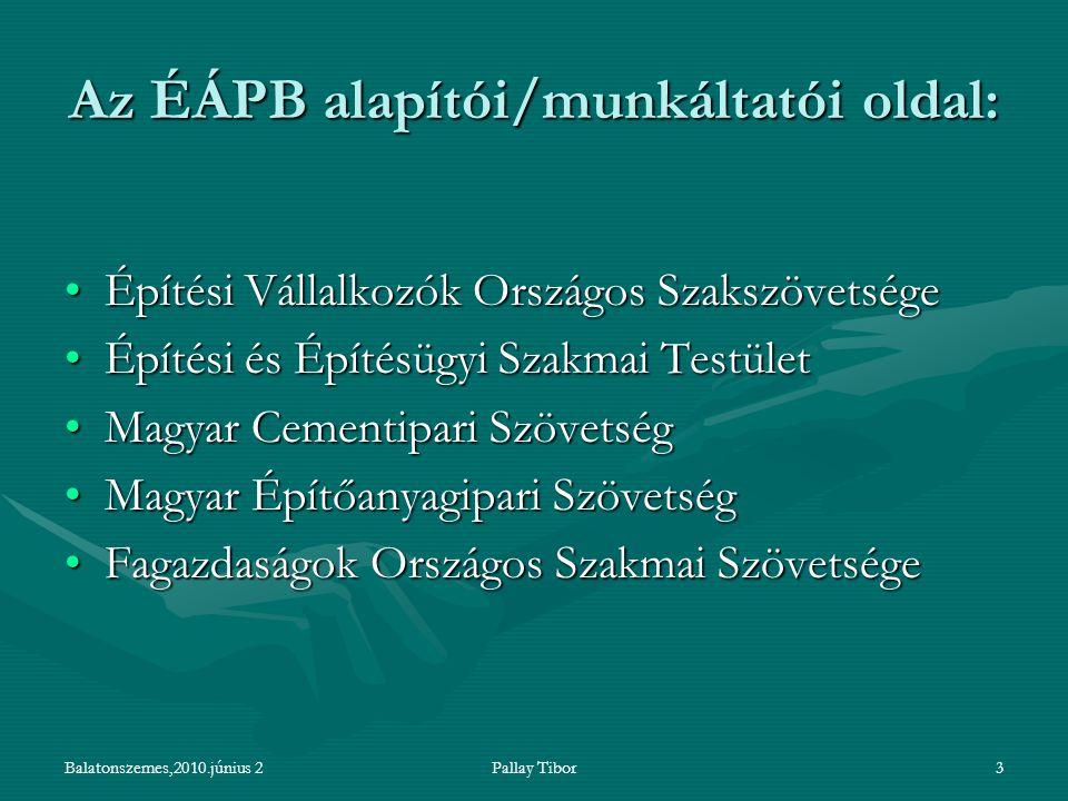 Balatonszemes,2010.június 2Pallay Tibor3 Az ÉÁPB alapítói/munkáltatói oldal: Építési Vállalkozók Országos SzakszövetségeÉpítési Vállalkozók Országos S
