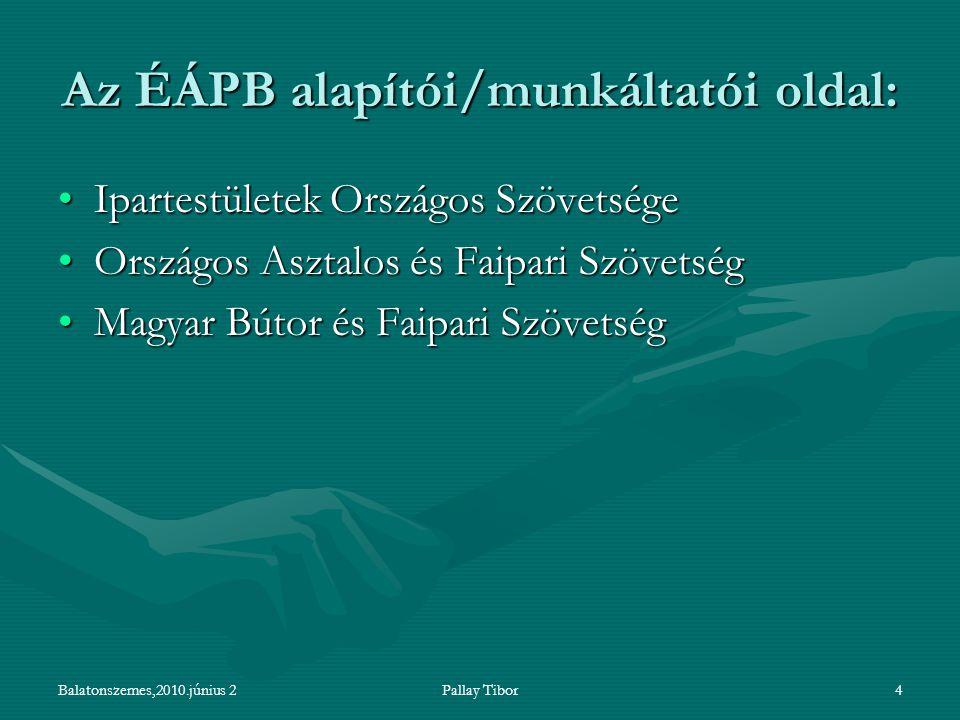 Balatonszemes,2010.június 2Pallay Tibor4 Az ÉÁPB alapítói/munkáltatói oldal: Ipartestületek Országos SzövetségeIpartestületek Országos Szövetsége Orsz