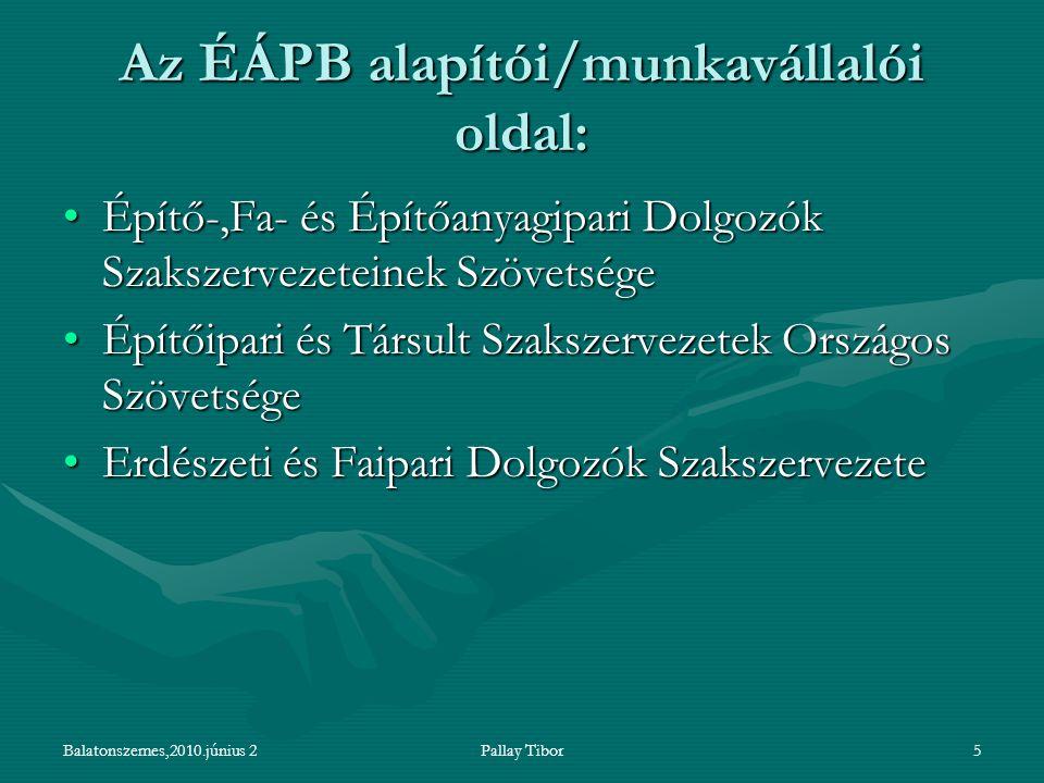 Balatonszemes,2010.június 2Pallay Tibor5 Az ÉÁPB alapítói/munkavállalói oldal: Építő-,Fa- és Építőanyagipari Dolgozók Szakszervezeteinek SzövetségeÉpí