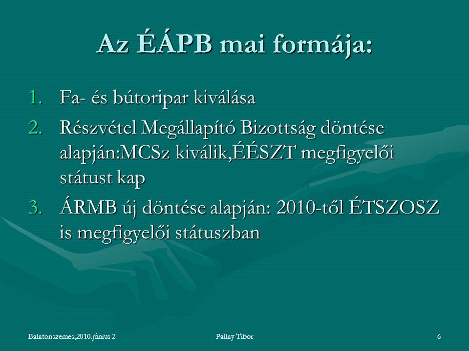 Balatonszemes,2010.június 2Pallay Tibor6 Az ÉÁPB mai formája: 1.Fa- és bútoripar kiválása 2.Részvétel Megállapító Bizottság döntése alapján:MCSz kiválik,ÉÉSZT megfigyelői státust kap 3.ÁRMB új döntése alapján: 2010-től ÉTSZOSZ is megfigyelői státuszban
