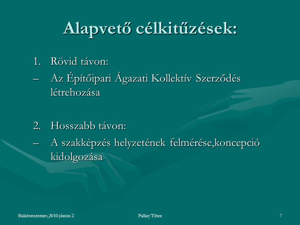 Balatonszemes,2010.június 2Pallay Tibor7 Alapvető célkitűzések: 1.Rövid távon: –Az Építőipari Ágazati Kollektív Szerződés létrehozása 2.Hosszabb távon: –A szakképzés helyzetének felmérése,koncepció kidolgozása
