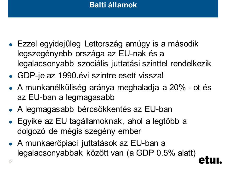 12 Balti államok ● Ezzel egyidejűleg Lettország amúgy is a második legszegényebb országa az EU-nak és a legalacsonyabb szociális juttatási szinttel rendelkezik ● GDP-je az 1990.évi szintre esett vissza.