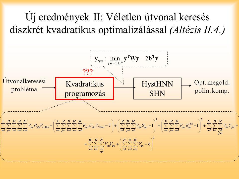 Új eredmények II: Véletlen útvonal keresés diszkrét kvadratikus optimalizálással (Altézis II.4.) Kvadratikus programozás Útvonalkeresési probléma Hyst