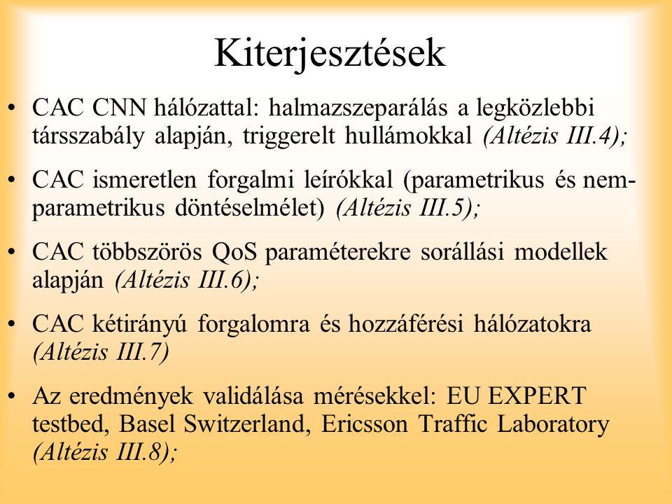 Kiterjesztések CAC CNN hálózattal: halmazszeparálás a legközlebbi társszabály alapján, triggerelt hullámokkal (Altézis III.4); CAC ismeretlen forgalmi