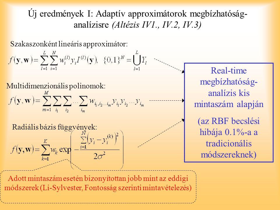 Új eredmények I: Adaptív approximátorok megbízhatóság- analízisre (Altézis IV1., IV.2, IV.3) Szakaszonként lineáris approximátor: Multidimenzionális p