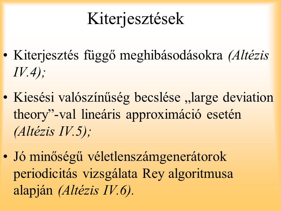 """Kiterjesztések Kiterjesztés függő meghibásodásokra (Altézis IV.4); Kiesési valószínűség becslése """"large deviation theory""""-val lineáris approximáció es"""