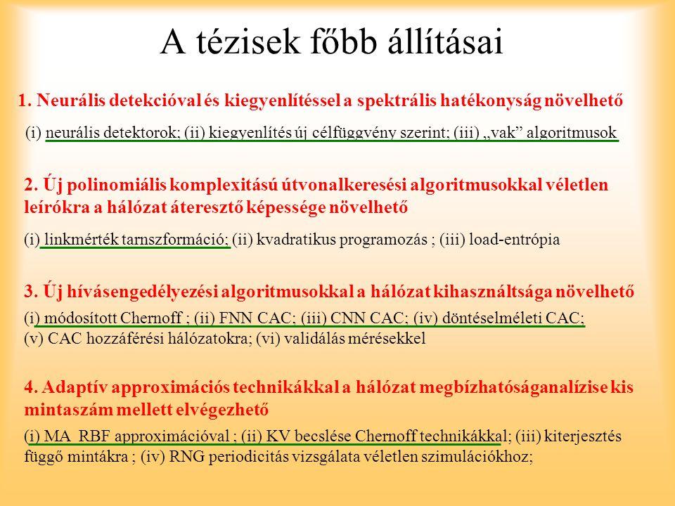 A tézisek főbb állításai 1. Neurális detekcióval és kiegyenlítéssel a spektrális hatékonyság növelhető (i) neurális detektorok; (ii) kiegyenlítés új c
