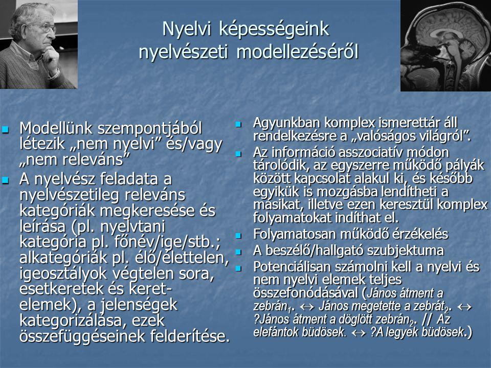 """Nyelvi képességeink nyelvészeti modellezéséről Modellünk szempontjából létezik """"nem nyelvi és/vagy """"nem releváns Modellünk szempontjából létezik """"nem nyelvi és/vagy """"nem releváns A nyelvész feladata a nyelvészetileg releváns kategóriák megkeresése és leírása (pl."""