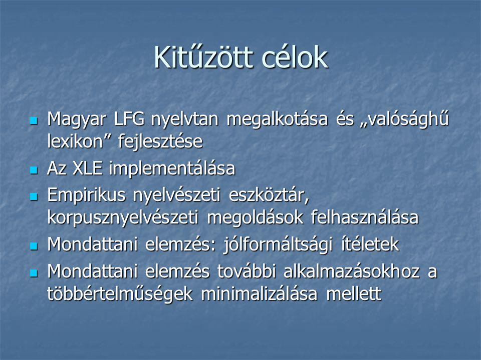 """Kitűzött célok Magyar LFG nyelvtan megalkotása és """"valósághű lexikon fejlesztése Magyar LFG nyelvtan megalkotása és """"valósághű lexikon fejlesztése Az XLE implementálása Az XLE implementálása Empirikus nyelvészeti eszköztár, korpusznyelvészeti megoldások felhasználása Empirikus nyelvészeti eszköztár, korpusznyelvészeti megoldások felhasználása Mondattani elemzés: jólformáltsági ítéletek Mondattani elemzés: jólformáltsági ítéletek Mondattani elemzés további alkalmazásokhoz a többértelműségek minimalizálása mellett Mondattani elemzés további alkalmazásokhoz a többértelműségek minimalizálása mellett"""