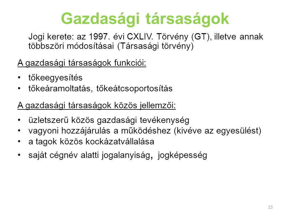 13 Gazdasági társaságok Jogi kerete: az 1997. évi CXLIV. Törvény (GT), illetve annak többszöri módosításai (Társasági törvény) A gazdasági társaságok