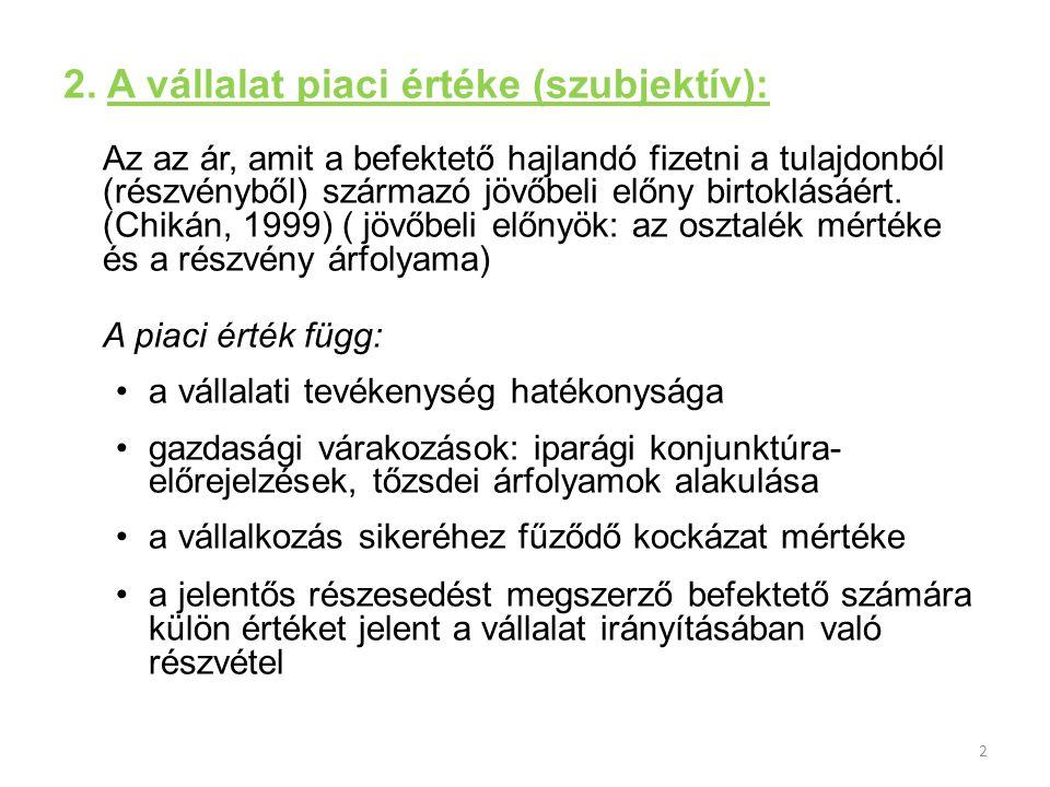2 2. A vállalat piaci értéke (szubjektív): Az az ár, amit a befektető hajlandó fizetni a tulajdonból (részvényből) származó jövőbeli előny birtoklásáé