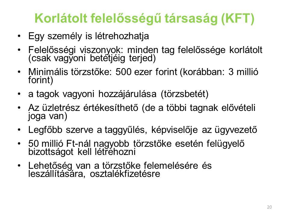 20 Korlátolt felelősségű társaság (KFT) Egy személy is létrehozhatja Felelősségi viszonyok: minden tag felelőssége korlátolt (csak vagyoni betétjéig t