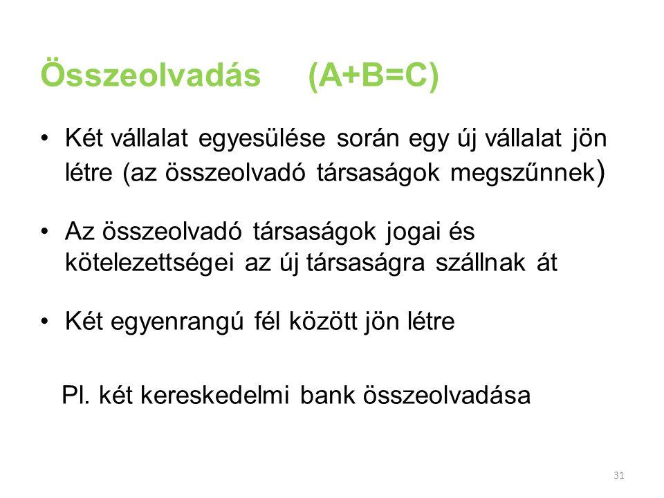31 Összeolvadás (A+B=C) Két vállalat egyesülése során egy új vállalat jön létre (az összeolvadó társaságok megszűnnek ) Az összeolvadó társaságok joga