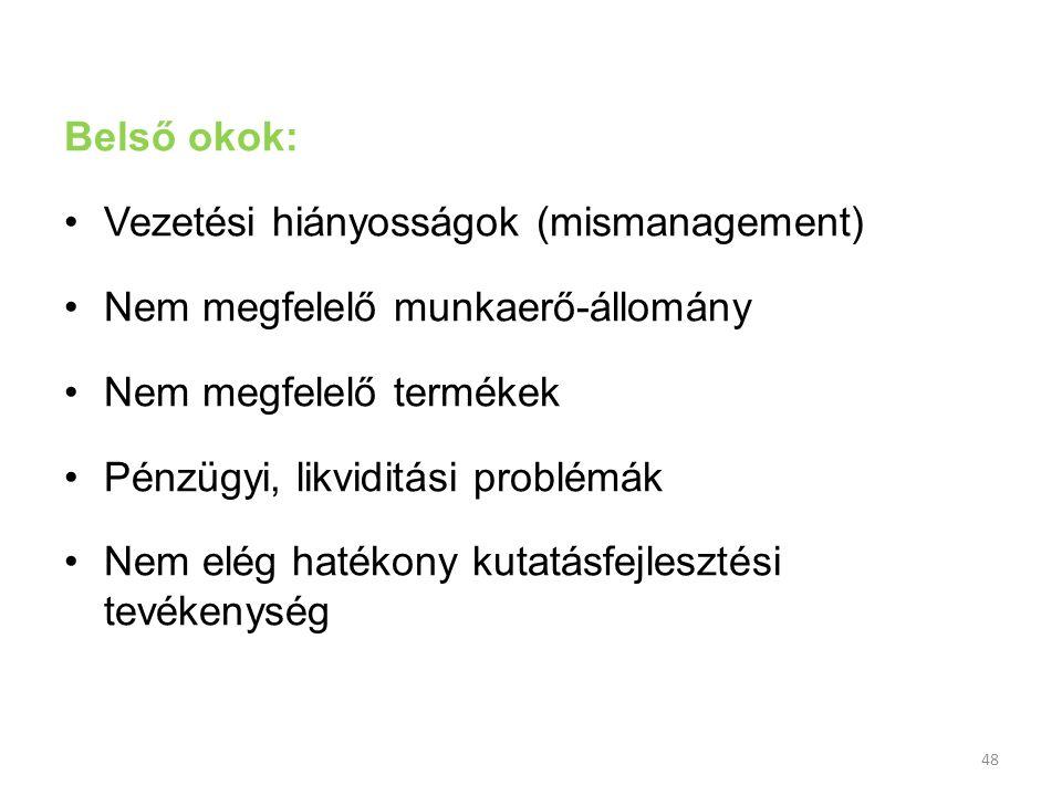 48 Belső okok: Vezetési hiányosságok (mismanagement) Nem megfelelő munkaerő-állomány Nem megfelelő termékek Pénzügyi, likviditási problémák Nem elég h