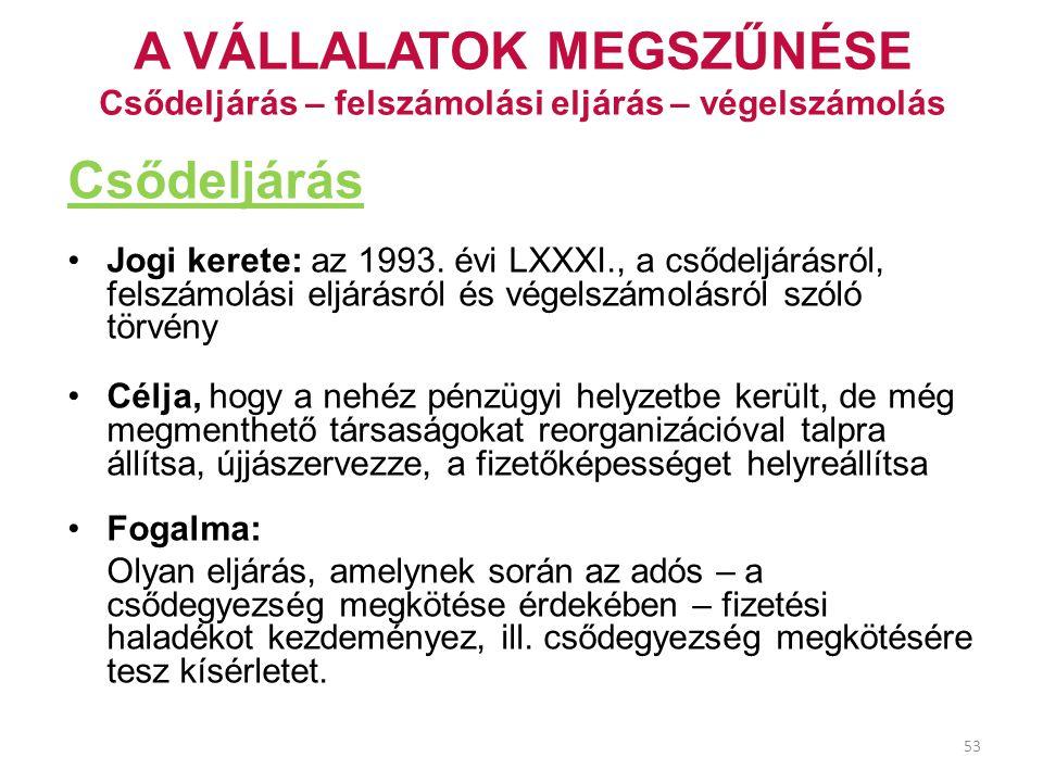 53 A VÁLLALATOK MEGSZŰNÉSE Csődeljárás – felszámolási eljárás – végelszámolás Csődeljárás Jogi kerete: az 1993. évi LXXXI., a csődeljárásról, felszámo