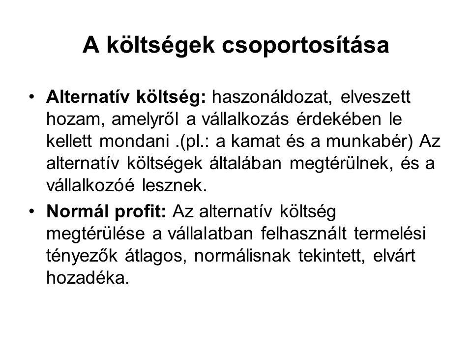 A költségek csoportosítása Alternatív költség: haszonáldozat, elveszett hozam, amelyről a vállalkozás érdekében le kellett mondani.(pl.: a kamat és a munkabér) Az alternatív költségek általában megtérülnek, és a vállalkozóé lesznek.