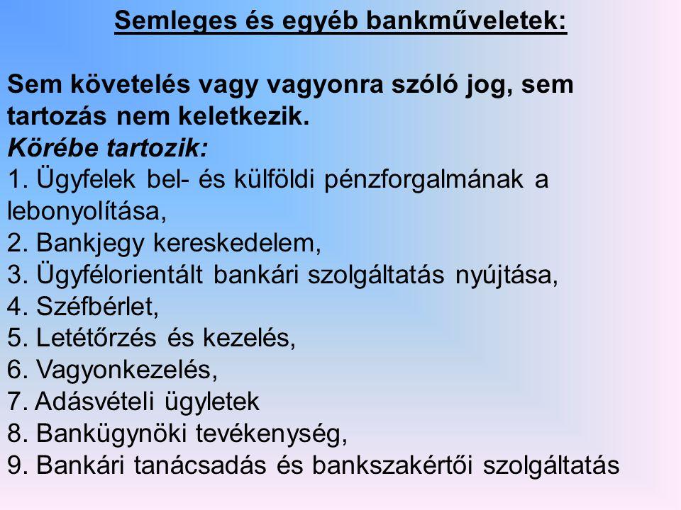 Semleges és egyéb bankműveletek: Sem követelés vagy vagyonra szóló jog, sem tartozás nem keletkezik.