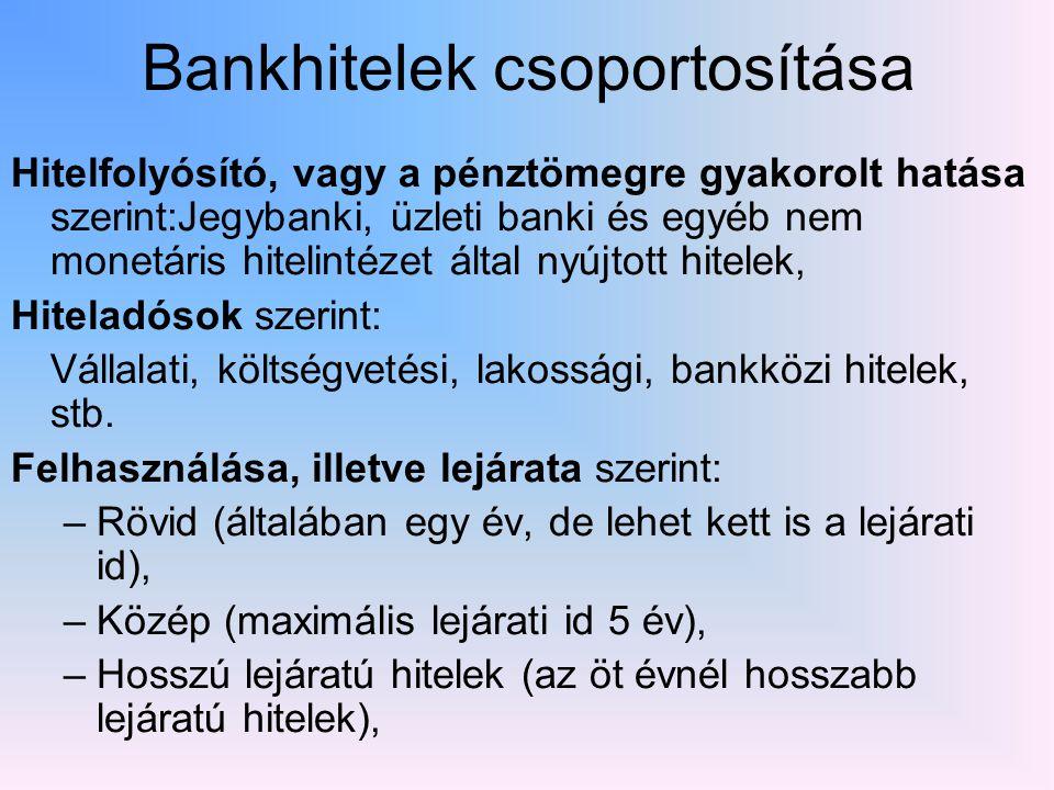 Bankhitelek csoportosítása Hitelfolyósító, vagy a pénztömegre gyakorolt hatása szerint:Jegybanki, üzleti banki és egyéb nem monetáris hitelintézet által nyújtott hitelek, Hiteladósok szerint: Vállalati, költségvetési, lakossági, bankközi hitelek, stb.