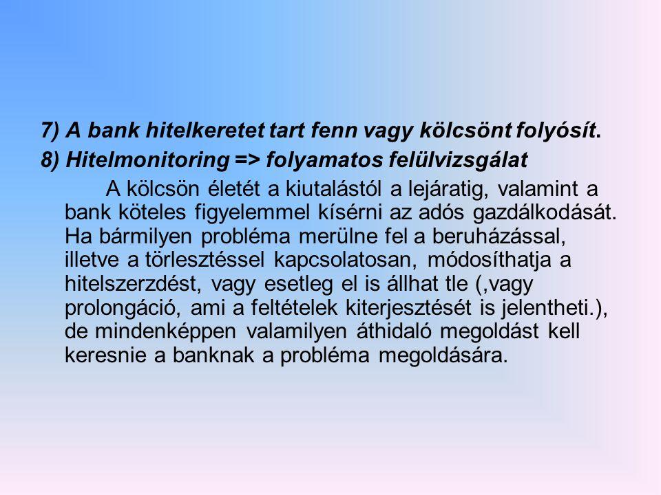 7) A bank hitelkeretet tart fenn vagy kölcsönt folyósít.