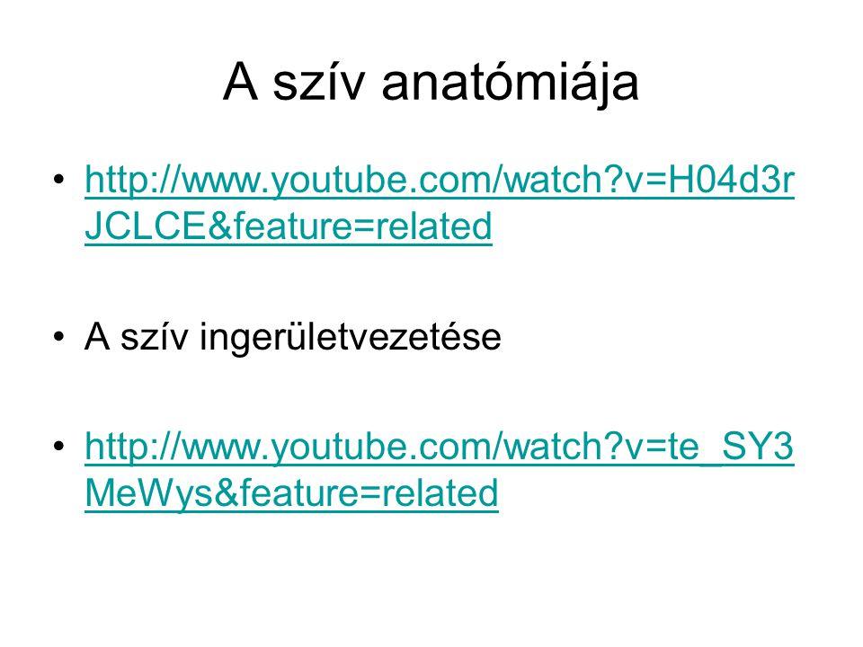A szív anatómiája http://www.youtube.com/watch?v=H04d3r JCLCE&feature=relatedhttp://www.youtube.com/watch?v=H04d3r JCLCE&feature=related A szív ingerü