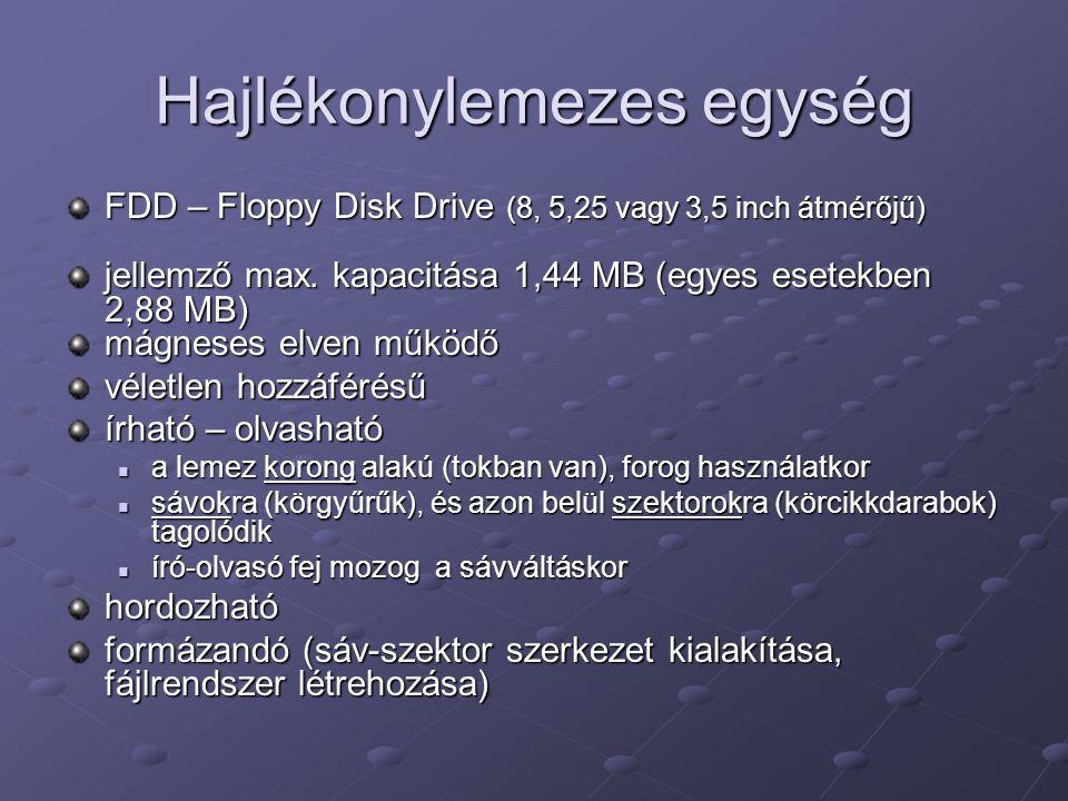 Hajlékonylemezes egység FDD – Floppy Disk Drive (8, 5,25 vagy 3,5 inch átmérőjű) jellemző max. kapacitása 1,44 MB (egyes esetekben 2,88 MB) mágneses e