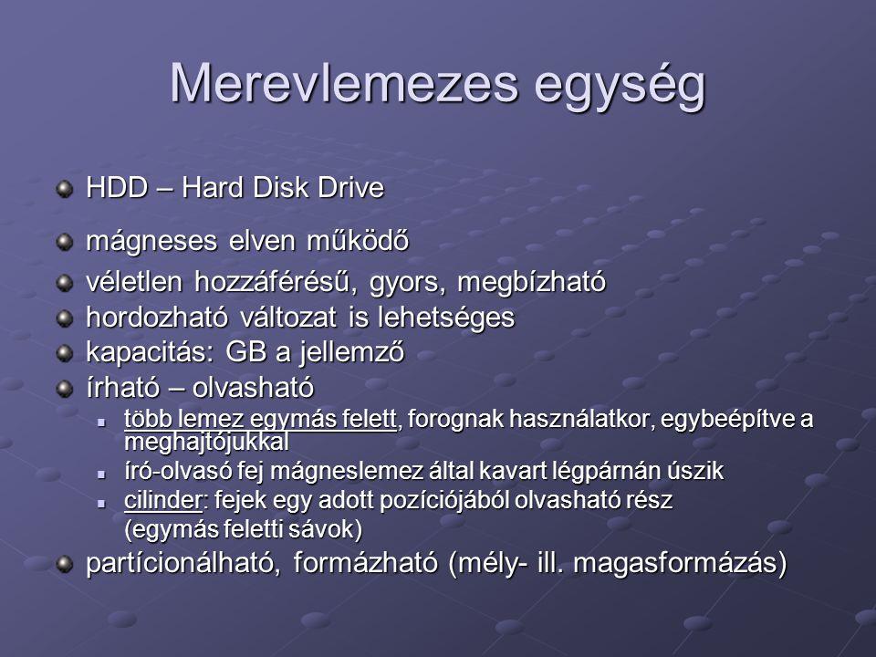 Merevlemezes egység HDD – Hard Disk Drive mágneses elven működő véletlen hozzáférésű, gyors, megbízható hordozható változat is lehetséges kapacitás: G