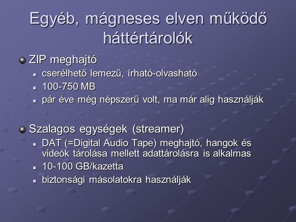 Egyéb, mágneses elven működő háttértárolók ZIP meghajtó cserélhető lemezű, írható-olvasható cserélhető lemezű, írható-olvasható 100-750 MB 100-750 MB