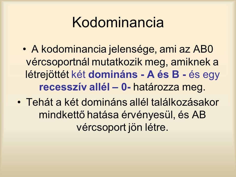 Kodominancia A kodominancia jelensége, ami az AB0 vércsoportnál mutatkozik meg, amiknek a létrejöttét két domináns - A és B - és egy recesszív allél –