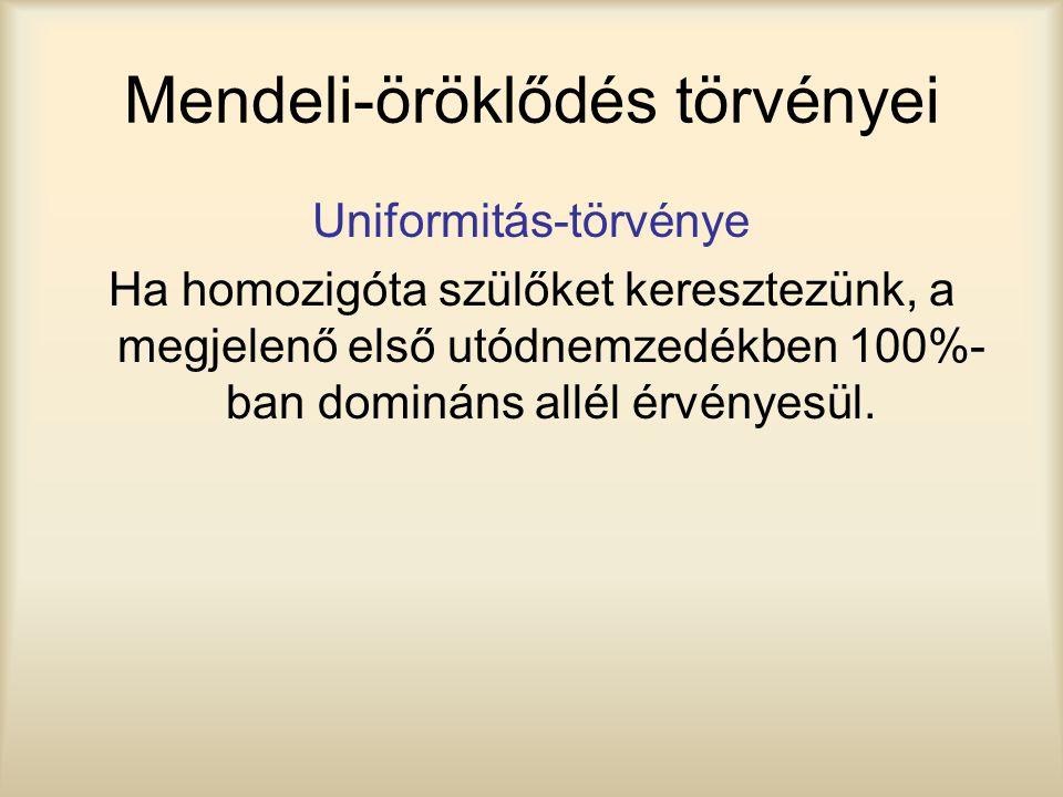 Mendeli-öröklődés törvényei Uniformitás-törvénye Ha homozigóta szülőket keresztezünk, a megjelenő első utódnemzedékben 100%- ban domináns allél érvény