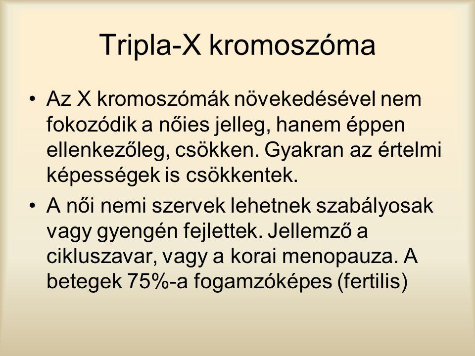 Tripla-X kromoszóma Az X kromoszómák növekedésével nem fokozódik a nőies jelleg, hanem éppen ellenkezőleg, csökken. Gyakran az értelmi képességek is c