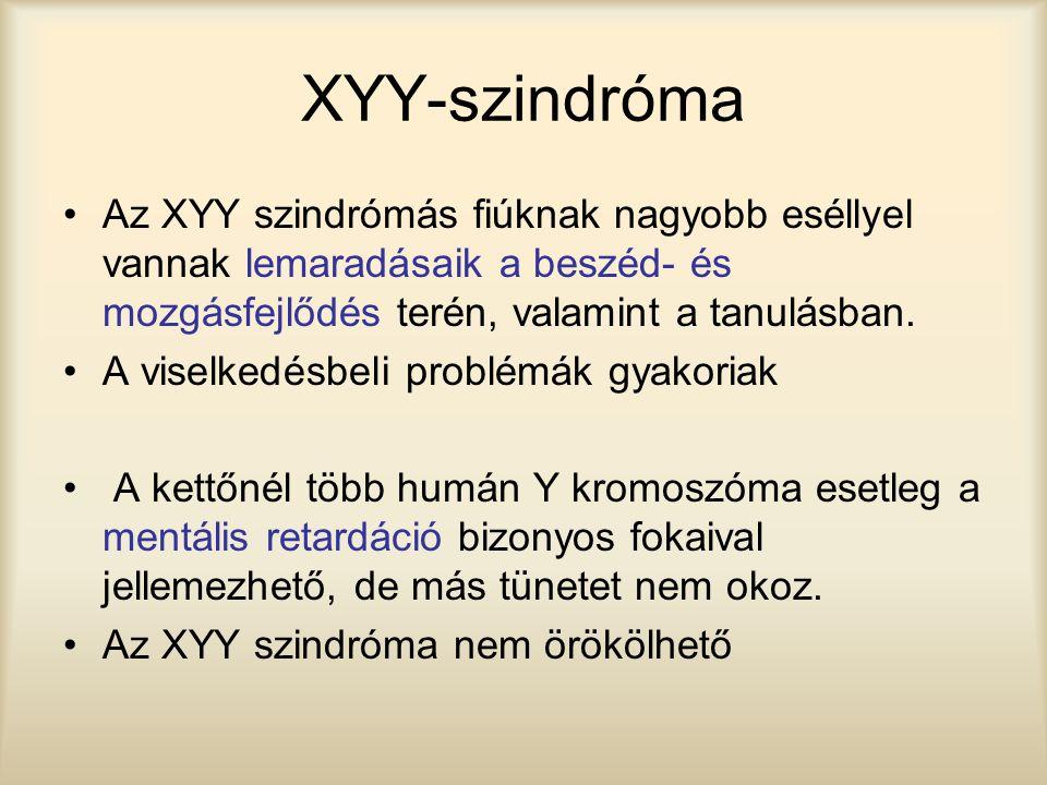 XYY-szindróma Az XYY szindrómás fiúknak nagyobb eséllyel vannak lemaradásaik a beszéd- és mozgásfejlődés terén, valamint a tanulásban. A viselkedésbel