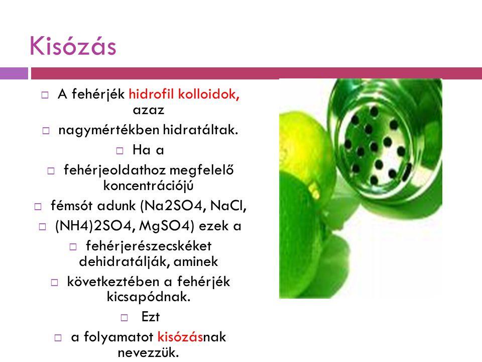 Kisózás  A fehérjék hidrofil kolloidok, azaz  nagymértékben hidratáltak.  Ha a  fehérjeoldathoz megfelelő koncentrációjú  fémsót adunk (Na2SO4, N
