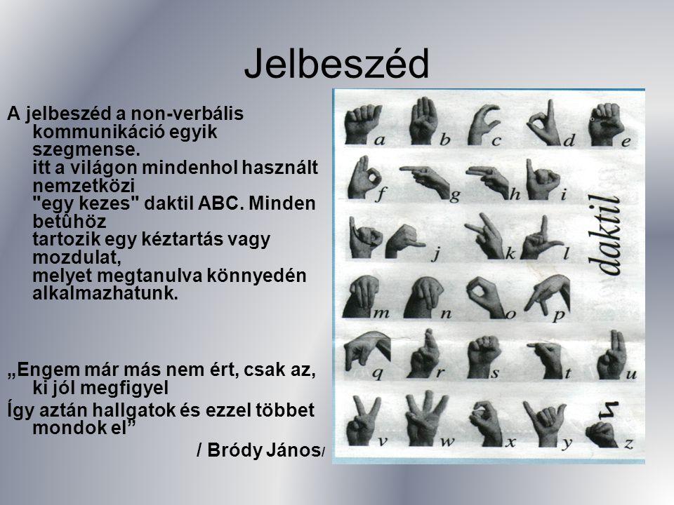 Jelbeszéd A jelbeszéd a non-verbális kommunikáció egyik szegmense. itt a világon mindenhol használt nemzetközi