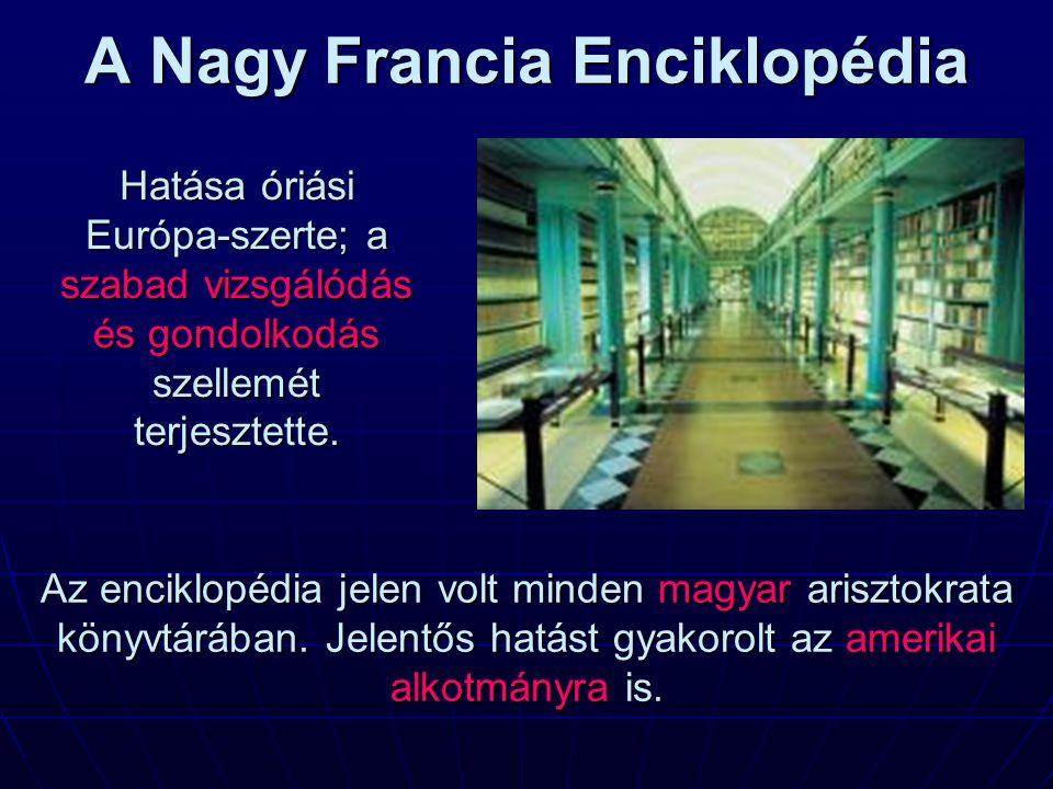 A Nagy Francia Enciklopédia Hatása óriási Európa-szerte; a szabad vizsgálódás és gondolkodás szellemét terjesztette. Az enciklopédia jelen volt minden