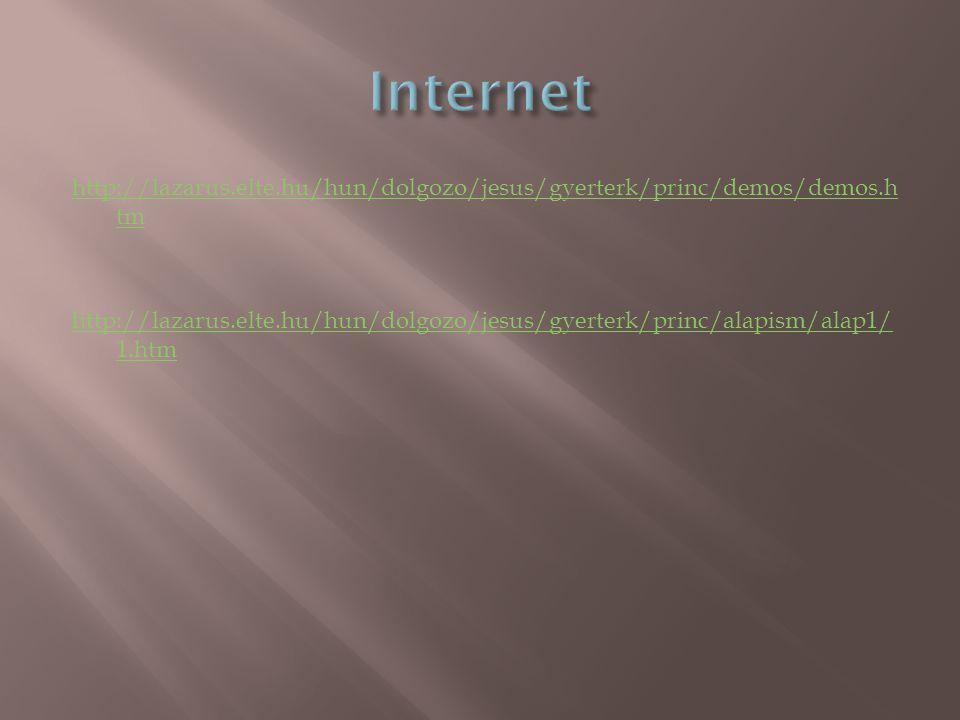 http://lazarus.elte.hu/hun/dolgozo/jesus/gyerterk/princ/demos/demos.h tm http://lazarus.elte.hu/hun/dolgozo/jesus/gyerterk/princ/alapism/alap1/ 1.htm