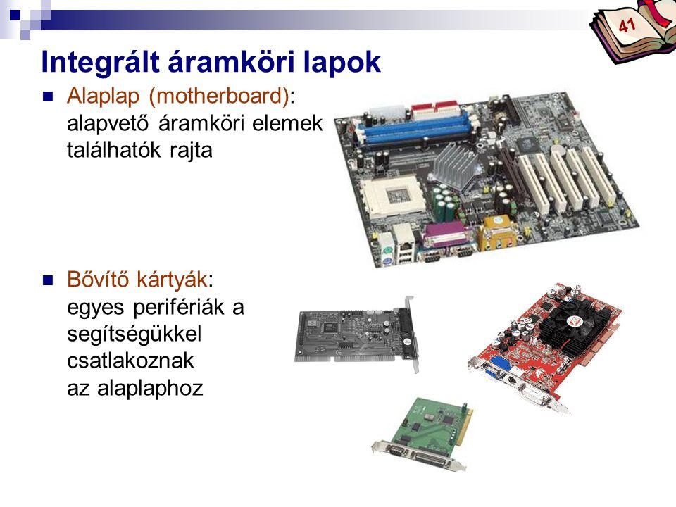 Bóta Laca Integrált áramköri lapok Alaplap (motherboard): alapvető áramköri elemek találhatók rajta Bővítő kártyák: egyes perifériák a segítségükkel csatlakoznak az alaplaphoz 41