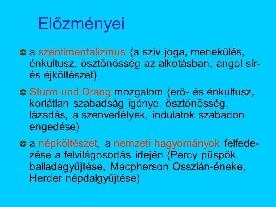 Előzményei a szentimentalizmus (a szív joga, menekülés, énkultusz, ösztönösség az alkotásban, angol sír- és éjköltészet) Sturm und Drang mozgalom (erő